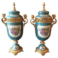 Pair of Sevres Style and Bronze Covered Urns, French