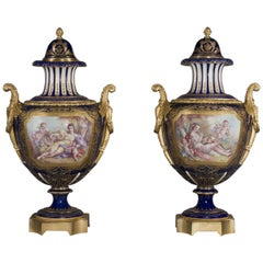 Pair of Sèvres-style Gilt-Bronze Mounted Porcelain Vases and Covers, circa 1890