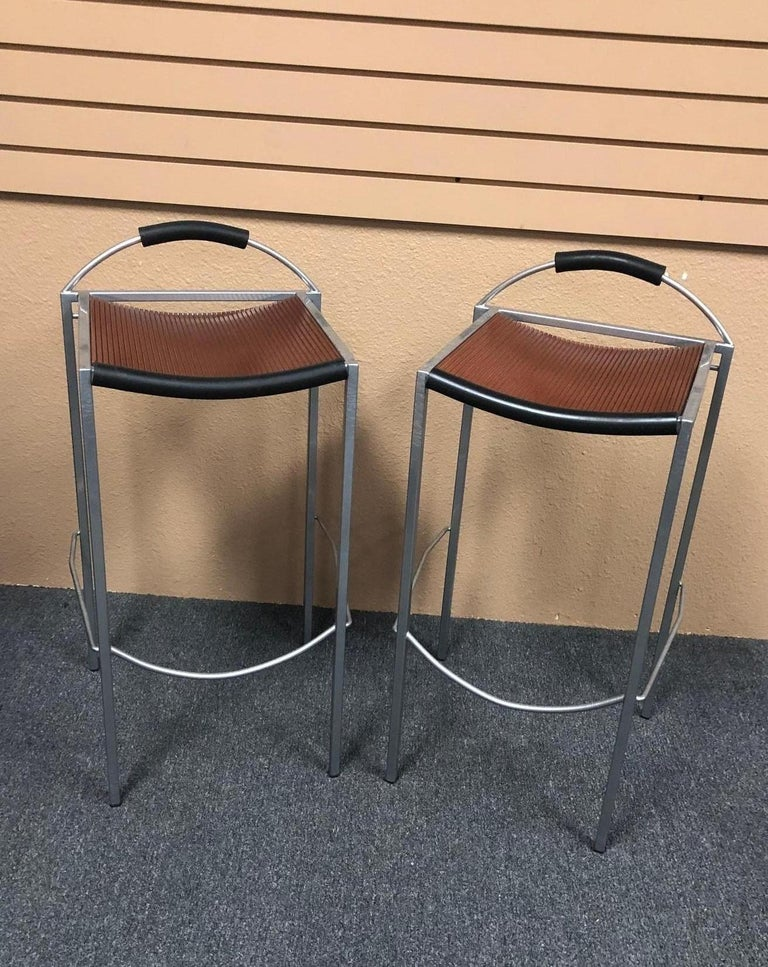 Italian Pair of Sgabello Stools by Maurizio Peregalli for Zeus For Sale
