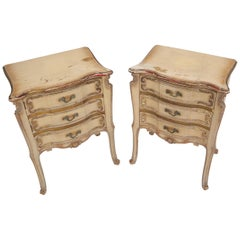 Pair of Shabby Chic French Provincial End Side Tables Nightstands White & Gold