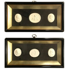 Pair of Shadowbox Framed 6 Plaster Intaglios