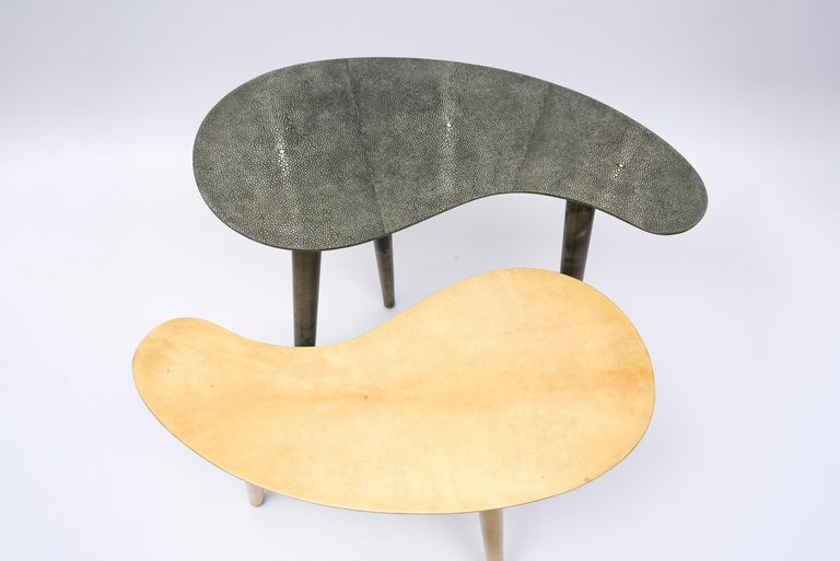 European Pair of Shagreen and Goatskin Nesting or Side Tables For Sale