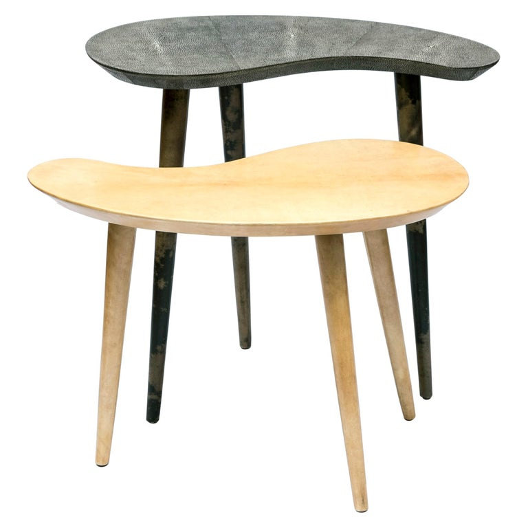 Pair of Shagreen and Goatskin Nesting or Side Tables For Sale