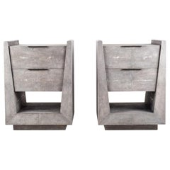 Pair of Shagreen Bedside Tables by R&Y Augousti