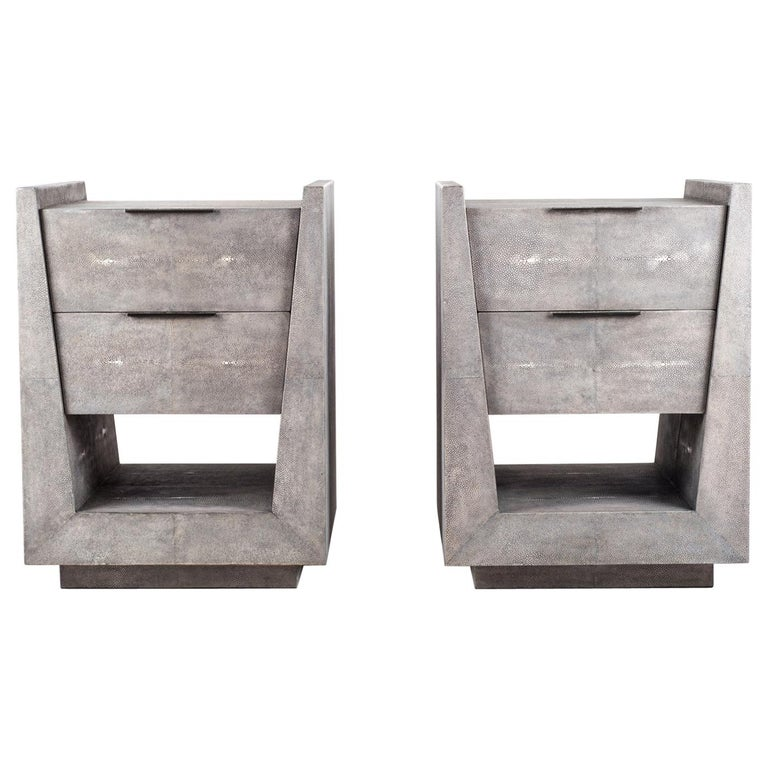 Pair of Shagreen Bedside Tables by R&Y Augousti For Sale