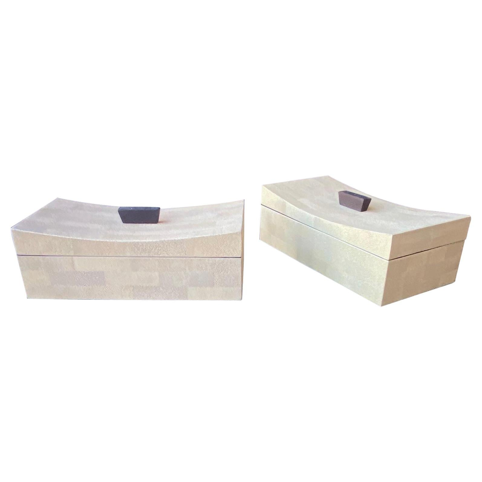 Pair of Shagreen Boxes, U.S.A. 1990s