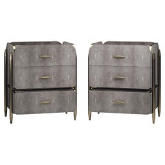 Pair of Shagreen Night Stands with Brass Accents by Kifu Paris