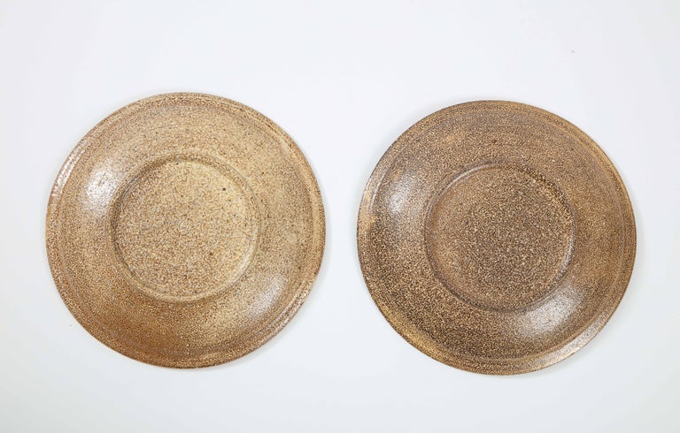 Pair of Shallow Stoneware Bowls with Abstract Pattern For Sale 2