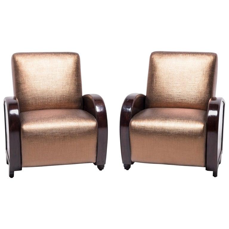 Pair of Shanghai Deco Club Chairs For Sale