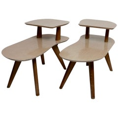 Pair of Shapely Mid-Century Modern Side Tables