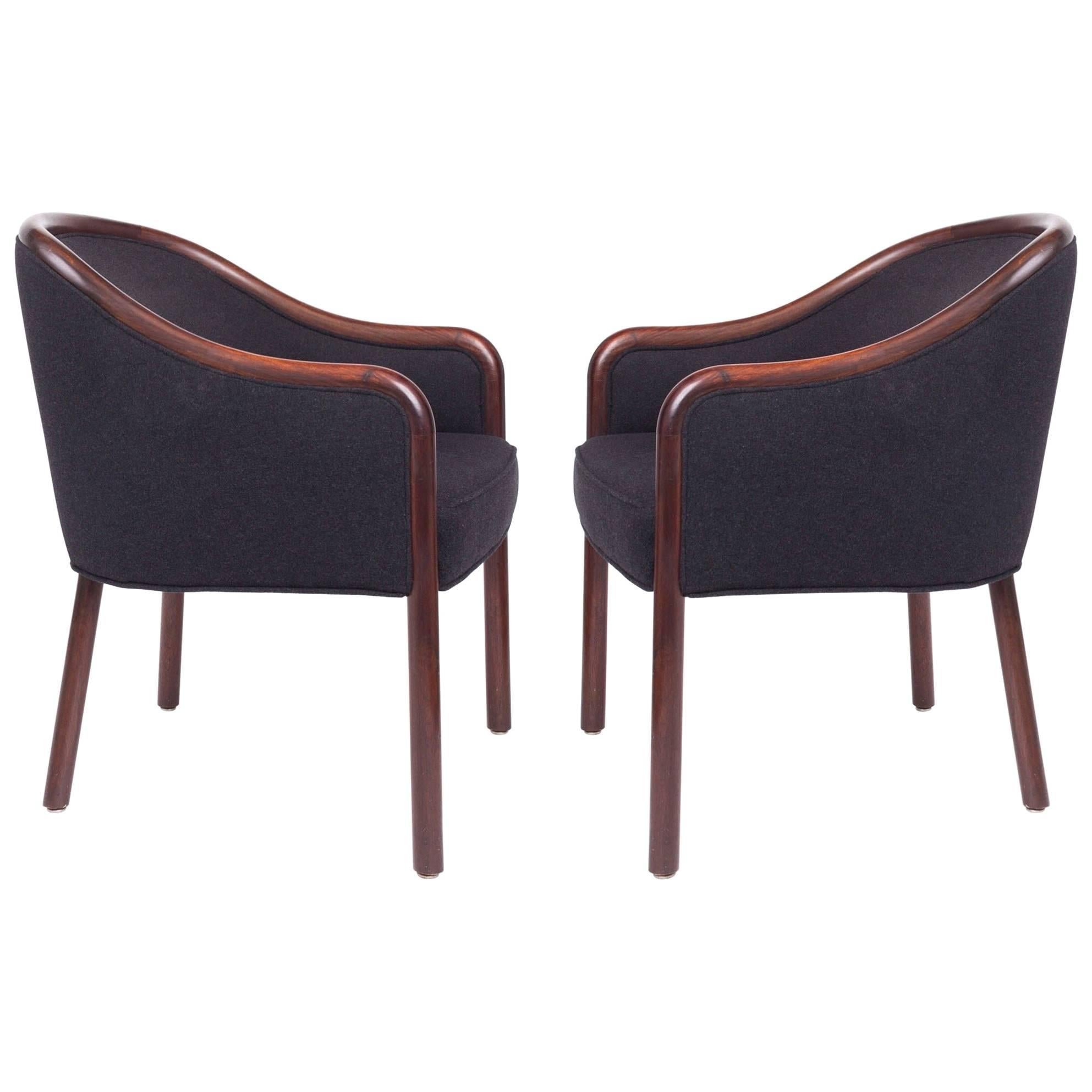 Pair of Shapely Upholstered Bentwood Club Chairs by Ward Bennett, 1960's