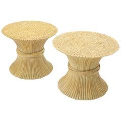 Paar Beistelltische mit Bambusgarben-Gestell von McGuire