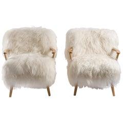 Pair of Sheepksin Armchairs