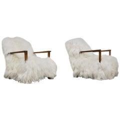Pair of Sheepskin Armchairs, 1960s