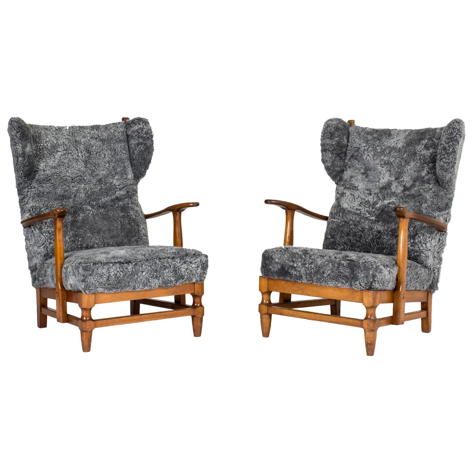 Pair of Sheepskin Lounge Chairs by Gunnar Göperts