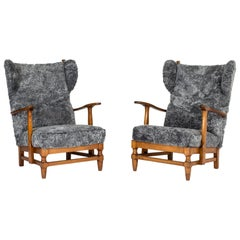 Pair of Sheepskin Lounge Chairs by Gunnar Göperts
