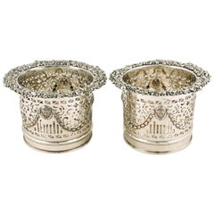 Pair of Sheffield Plated Magnum Coasters, 19th Century