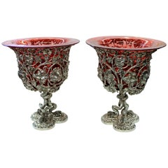 Pair of Sheffield Silver Plate Rococo Style Wine Coolers