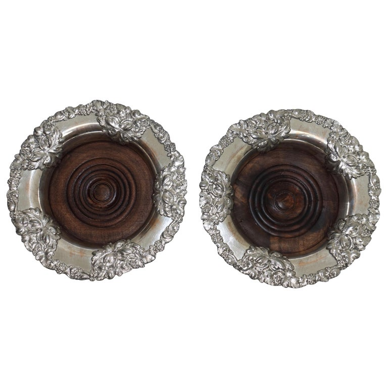 Pair of Sheffield Silver Plate Wine Coasters, England, 19th Century For Sale