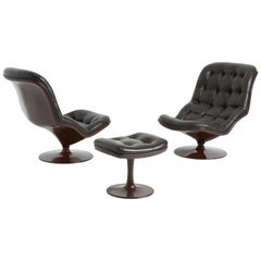 Pair of Shelby Lounge Chairs with Ottoman by Georges Van Rijck for Beaufort