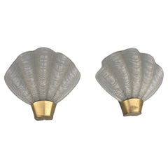 """Pair of Shell """"Coquille"""" Wall Lamps by ASEA Skandia Mid-Century, Sweden, 1950's"""