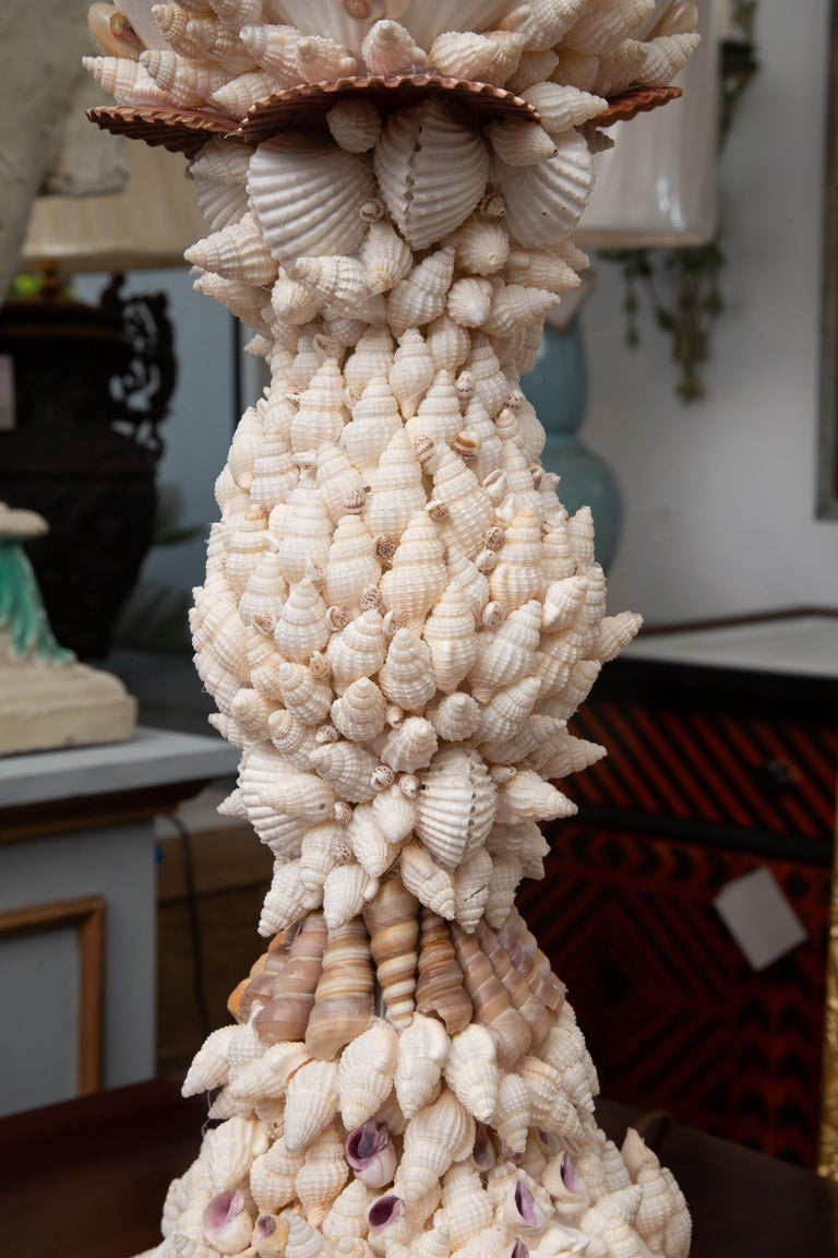 American Pair of Shell Encrusted Table Lamps For Sale