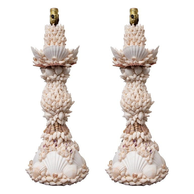 Pair of Shell Encrusted Table Lamps For Sale