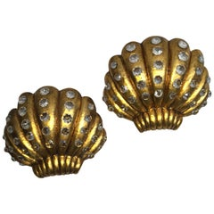 Pair of Shell Sconces with Crystal Insets