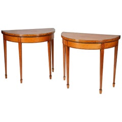 Pair of 18th century Sheraton Period Satinwood Card Tables