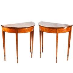 Pair of Sheraton Revival Satinwood Console Tables