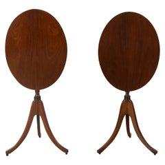 Pair of Sheraton Revival Tilt Top Tripod Tables