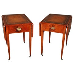 Pair of Sheraton Style Inlaid Mahogany Leather Top Pembroke Tables