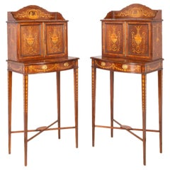 Pair of Sheraton Style Inlaid Side Cabinets, 19th Century