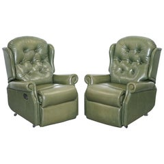 Pair of Sherborne Lynton Upholstery Green Leather Recliner Armchairs