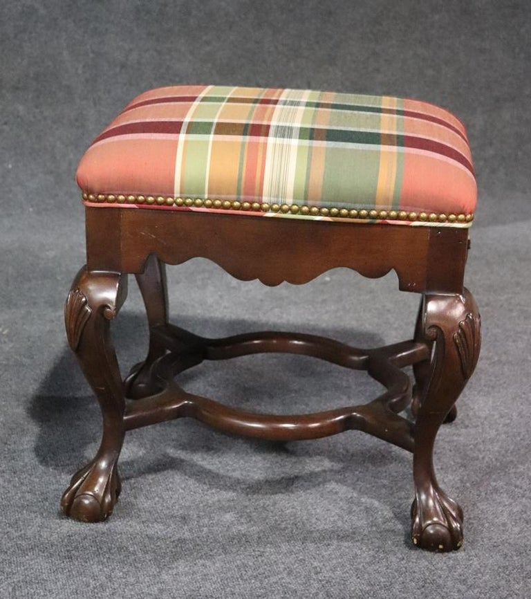 American Pair of Carved Ball and Claw Georgian Style Mahogany Stools Benches