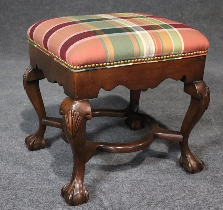 20th Century Pair of Carved Ball and Claw Georgian Style Mahogany Stools Benches