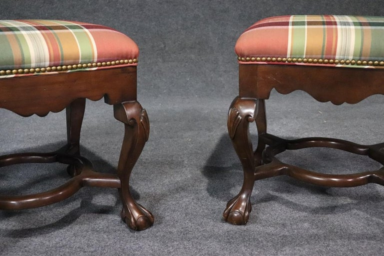 Upholstery Pair of Carved Ball and Claw Georgian Style Mahogany Stools Benches