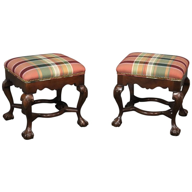 Pair of Carved Ball and Claw Georgian Style Mahogany Stools Benches
