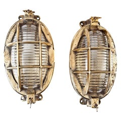 Pair of Ship's Nautical Brass Passageway Lights with Fresnel Lens Glass Shades
