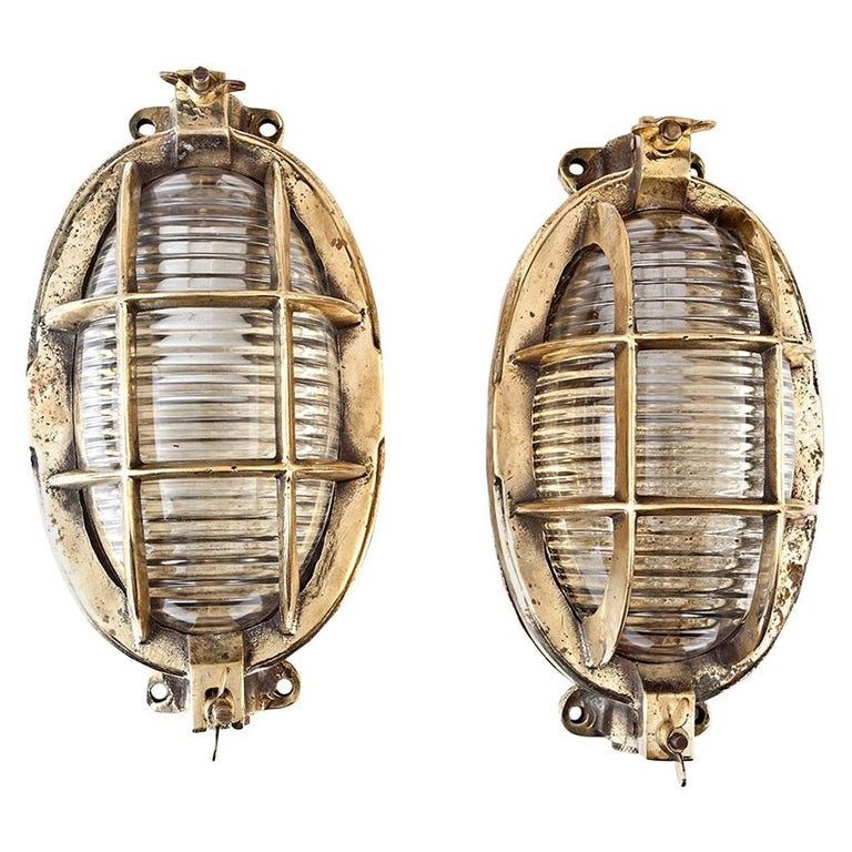 Pair of Ship's Nautical Brass Passageway Lights with Fresnel Lens Glass Shades For Sale