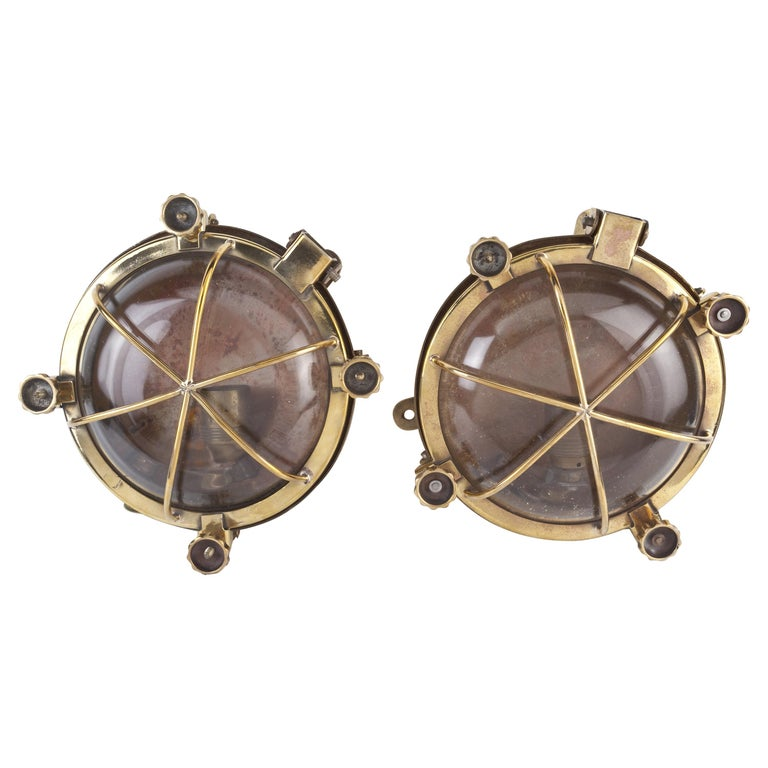 Pair of Ship's Nautical Brass Passageway Wall Lights, 1970s For Sale