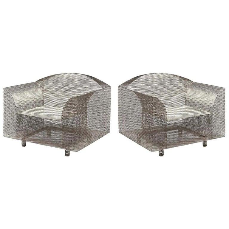 """Pair of Shiro Kuramata """"How High the Moon"""" Armchair For Sale"""