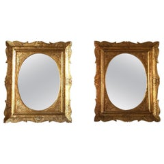 Pair of Sicilian Carved Gilded Silver Mirrors, Italy, 1950s