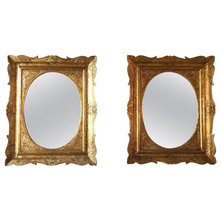 Pair of Sicilian Carved Gilded Silver Mirrors, Italy, 1950s For Sale