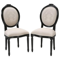 Pair of Side Chairs with Linen Upholstery