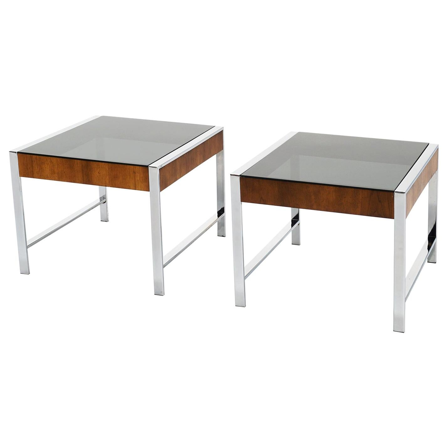 Pair of Side / End Tables in Chrome, Smoked Glass, and Walnut