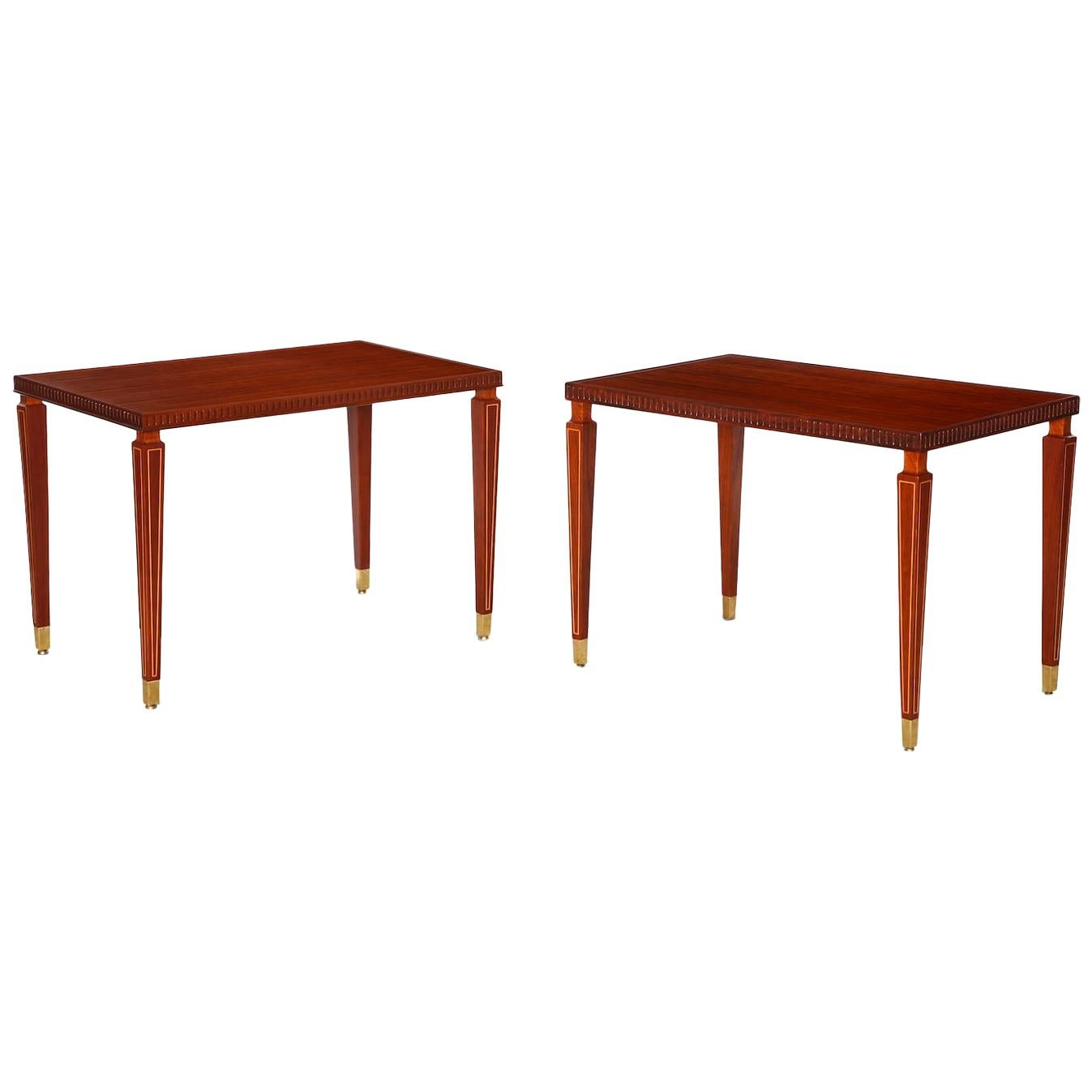 Pair of Side Rosewood Tables by Paolo Buffa