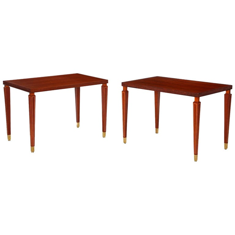 Pair of Side Rosewood Tables by Paolo Buffa For Sale