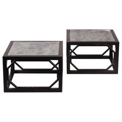 Pair of Side Table in Black Lacquered Metal and Eglomised Glass