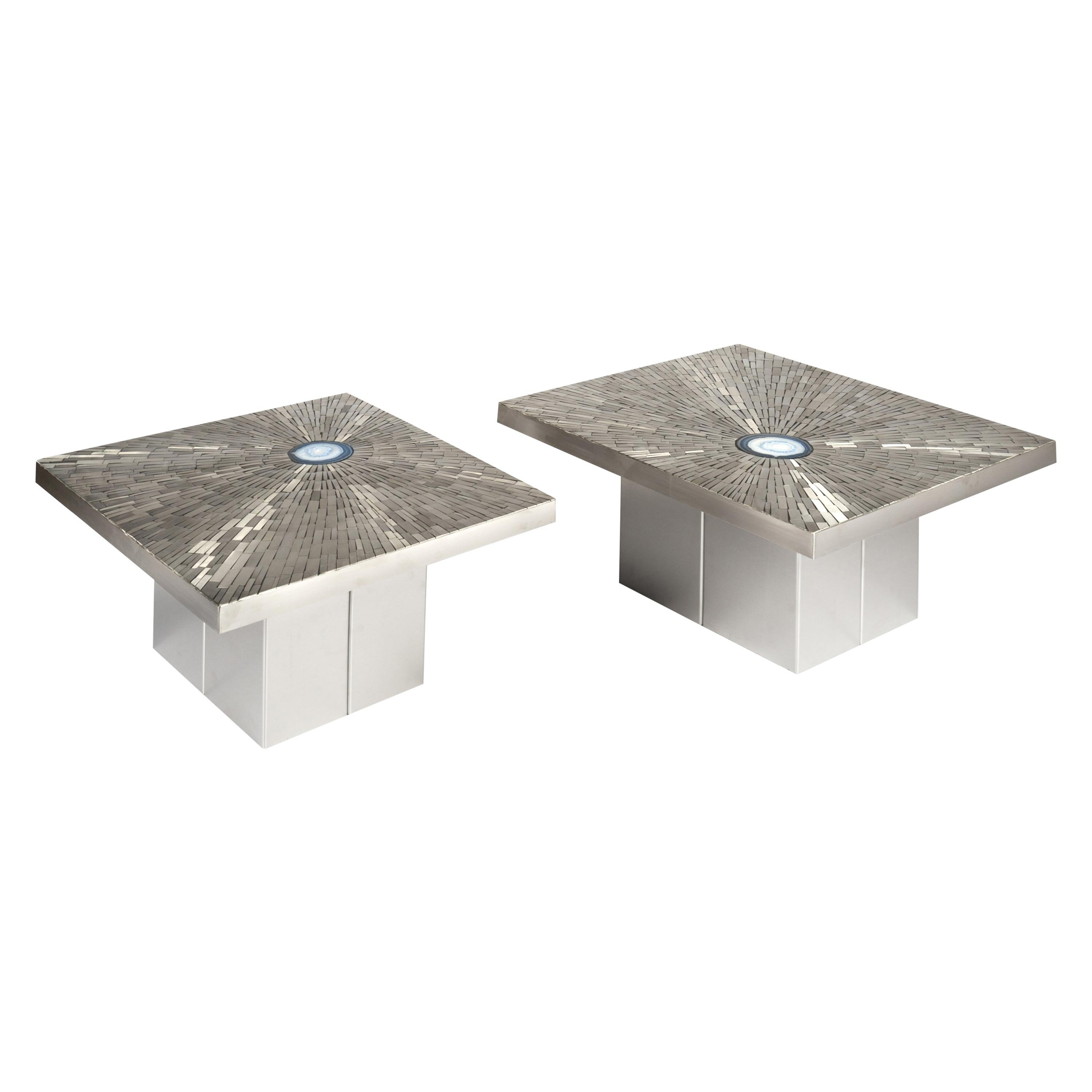 Pair of Side Table in Stainless Steel Mosaic Inlay Agates by Stan Usel